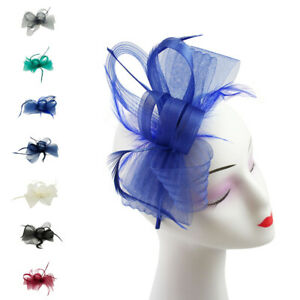 Small Flower Feather Hat Fascinator Headband Clip Wedding Royal Ascot Party