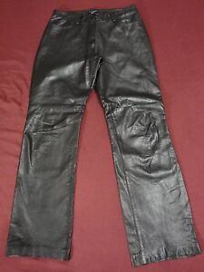 """Ann Taylor Size 6 Black Leather, 3/4 Lined Pants 29"""" x 30"""""""