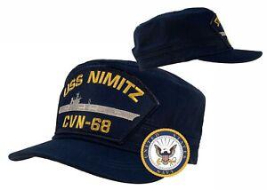 USS Nimitz Hat CVN-68 Hat    CADET - FATIGUE    Cap Blue w/Free Navy Sticker