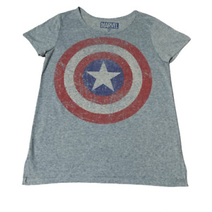 Marvel Captain American Distressed Heathered Blue Shirt XL
