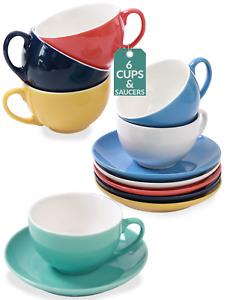 6 Cappuccinotassen Bunt Keramik Kaffee Mokka Cups Tassen Untertassen Becher Set