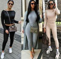 Women's Ladies Chunky Cable Knitted Co ord Top Legging Loungewear Tracksuit Set