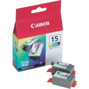 GENUINE AUTHENTIC CANON BCI-15 COLOUR INK CARTRIDGE TWIN PACK