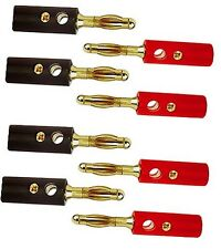 Banana Plugs X8 For AV Audio High Quality Gold + Heat Shrink Tubing