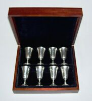 MANCHESTER ~ Early Set (8) Sterling Silver Hollowware CORDIAL CUPS w/Wood Box