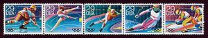 #2615a 29c 1992 Winter Olympics, Se-Tenant Strip, Mint ANY 5=