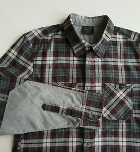 Oakley Plaid Soft Cotton Shirt Grey/Black/Red Check Cotton Grunge *S* TR70
