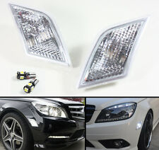 FOR 2008-2011 BENZ W204 C-CLASS CLEAR SIDE MARKER LIGHTS + ERROR FREE LED BULBS