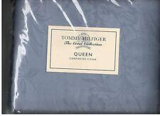 Tommy Hilfiger Crest Damask Collection Blue Queen Duvet Comforter Cover New