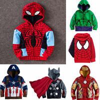 Kids Boys Spider-Man Hero T-Shirt Tops Tee Hooded Hoodie Sweatshirt Jacket Coat