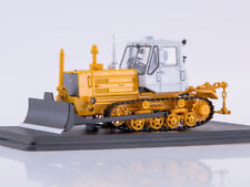 Scale model truck 1/43 Tractor T-150 crawler with blade (yellow/white)