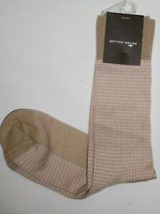 Peter Millar men's Peruvian Pima Cotton Crew Dress Socks  khaki / pink retail $2