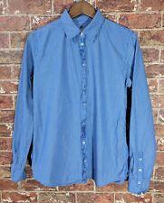 Marc Opolo sz 40 White Blue Striped Collared Shirt Blouse Cotton Ruffle