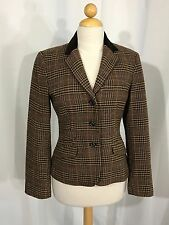 Ralph Lauren Chaps Riding Jacket Wool Blend Brown Houndstooth Women 8 Orig $129