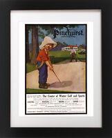 Antique PINEHURST Golf Course Hotel Club SAND TRAP Golfing BOY Poster Art Print