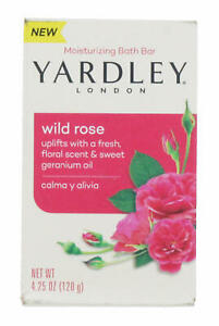 4 x Yardley Moisturising Bath Bar 120g Each Wild Rose Floral Scent Uplifts Soap