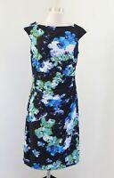 Lauren Ralph Lauren Blue Green Black Floral Ruched Wiggle Dress Size 12 Career