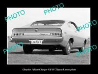 OLD POSTCARD SIZE PHOTO OF 1972 CHRYSLER VALIANT CHARGER VH LAUNCH PRESS PHOTO