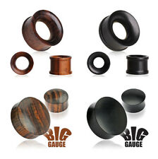 Organic Wood Plugs Ear Stretchers Tunnel Lobe Piercings Brown Black