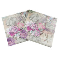 design tower paper napkins rose festive party tissue floral decoration 20pcs  Fp