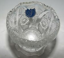 Vintage Imperial Clear Glass Toothpick Holder Sawtooth Edge Partial Sticker