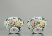 PAIR China 20th century Famille Rose Cranes Bowls Chinese porcelain PROC...