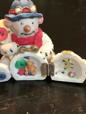 Vintage Ceramic Snowman With Hinged Snowball 3 3/4� H x 3� W Made In China