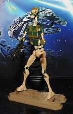 STAR WARS ACTION FIGURE RARE CAMO BATTLE DROID + STAND + WEAPON HASBRO 2008