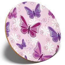 1 x Purple Pink Butterflies - Round Coaster Kitchen Student Kids Gift #13090
