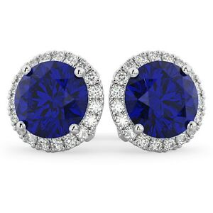 1.50Ct Blue Sapphire and Diamond Halo Stud Earring in 9K White Gold Finish