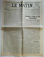 N939 La Une Du Journal Le Matin 29 juin 1914 assassinat héritier  Autriche