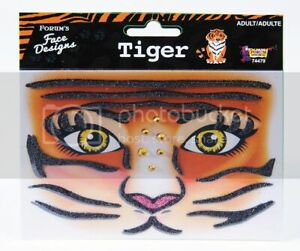 TIGER FACE Designs Make-up Accessory Face Self Adhesive Décor Art