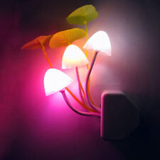 US Plug Mushroom Light-controlled Sensor LED Night Light Lamp Kids Bedroom Decor