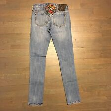 ED HARDY Embroidered Denim Jeans Woman's Size 25 SKINNY LEG Tiger Rhinestones