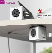 New Allocacoc PowerCube Extended 4 Outlets and 2 USB Ports 1.5M - Grey One Cube