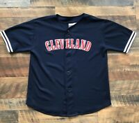 CLEVELAND INDIANS Adult Men's Size Large Jersey Short Sleeve Navy Shirt Wahoo