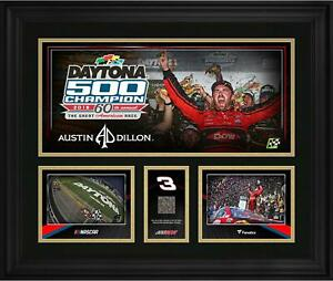Austin Dillon Framed 20x24 2018 Daytona 500 Champ Collage with Race-Used Track