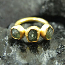 Handmade Hammered Designer Rough Trio Apatite Ring Gold over Sterling Silver