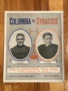 Columbia Lions vs Syracuse Orange Football Program from November 25, 1924