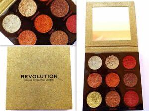 Makeup Revolution Pressed Glitter Eyeshadow Palette Midas Touch Sparkly SEALED