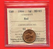 "1964 Canada 1 Cent Coin ICCS Graded MS65 # EH 067 "" Red """