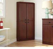 Corner Kitchen Cabinet Storage Pantry Tall Cherry Wood Bathroom Cupboard Shelves