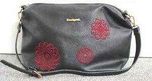 Desigual handbag Black With Red Applique Floral Feature Shoulder Handbag