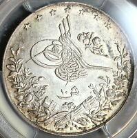 1908 PCGS MS 62 Egypt 10 Qirsh 1293/33H Ottoman Empire Silver Coin (19090502D)