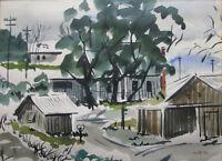 1952 FREEMAN W. BUTTS (CA/MT 1928-98) w/c Painting CALIFORNIA FARM EXPRESSIONIST