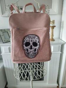 Rucksack Lederimitat Bodybag Damen Tasche rosa Schultertasche Totenkopf