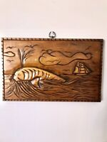 Vintage Hand Carved Wooden Nautical Scene Whale Sailboat Lighthouse Beachhouse