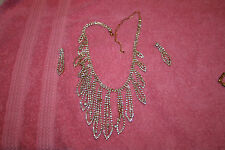 Vintage Evening Crystal Rhinestones Necklace & Earrings Beautiful Set