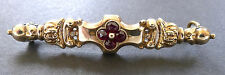Vintage Georgian 14K Gold Rose Cut Garnet Brooch Pin 1780s Antique Repousse