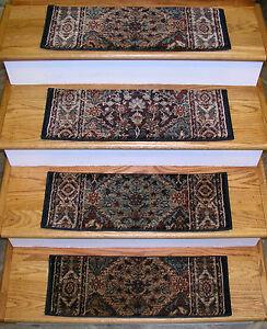 "Rug Depot Set of 13 Traditional Non Slip Carpet Stair Treads 26"" x 9"" Navy/Multi"